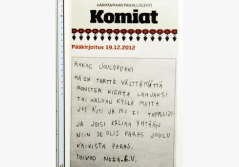 A little girl's letter to Santa, taken from a Finnish newspaper